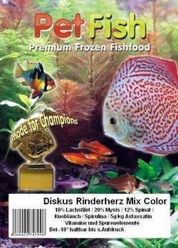 50 x 100g Diskus Rinderherz Mix Color Premium + Vitamine